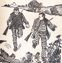 Escapees running (drawing)