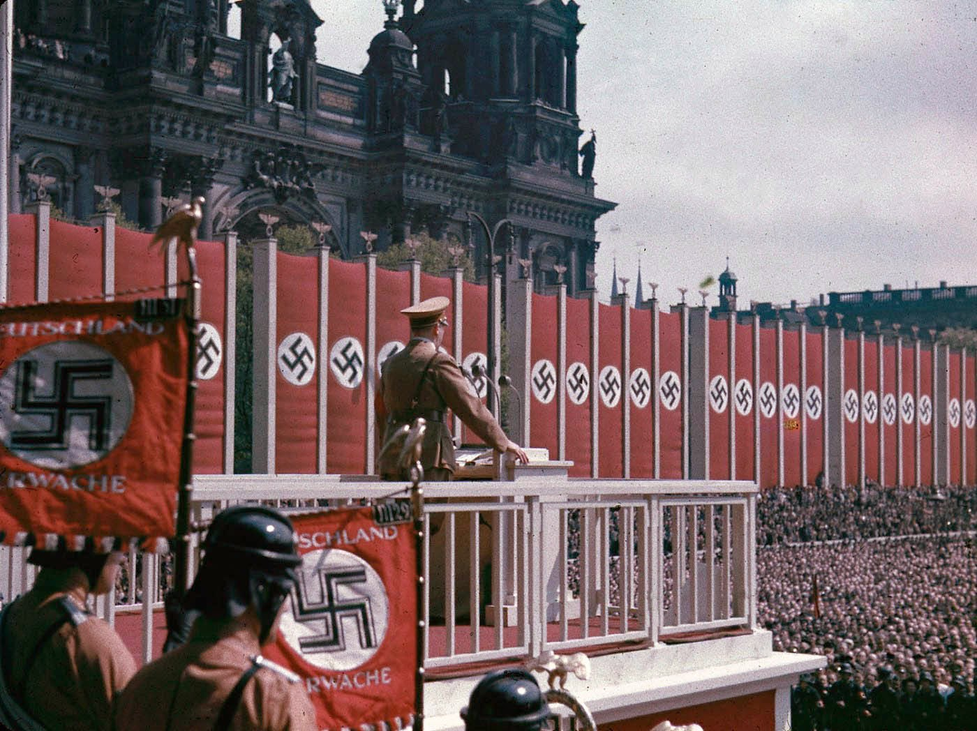 Adolf Hitler speaking at the Lustgarten, Berlin, 1938_