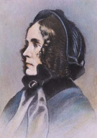 4E1098.03 JANE MEANS APPLETON PIERCE (1806-1863):  colored engraving, 19th century.