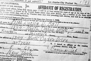 Lucy's 1936 voter card