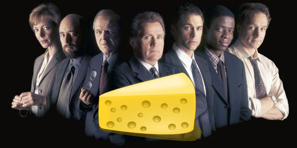 West Wing cast with cheese